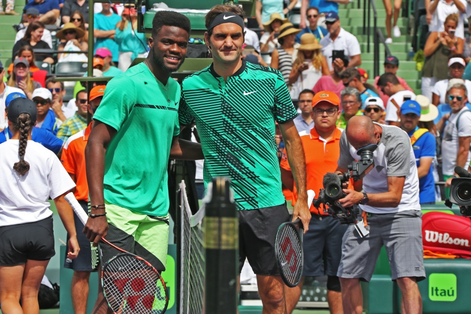 FRANCIS TIAFOE AND ROGER FEDERER AT THE NET PHOTO ART SEITZ